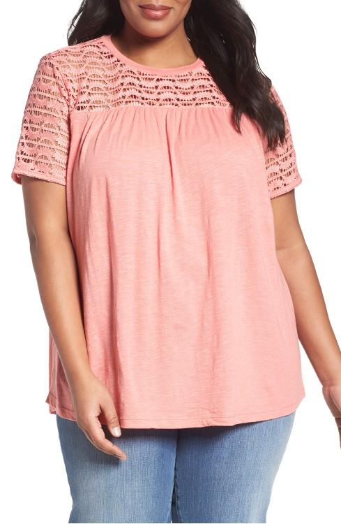 $55 Lace Yoke Knit Top