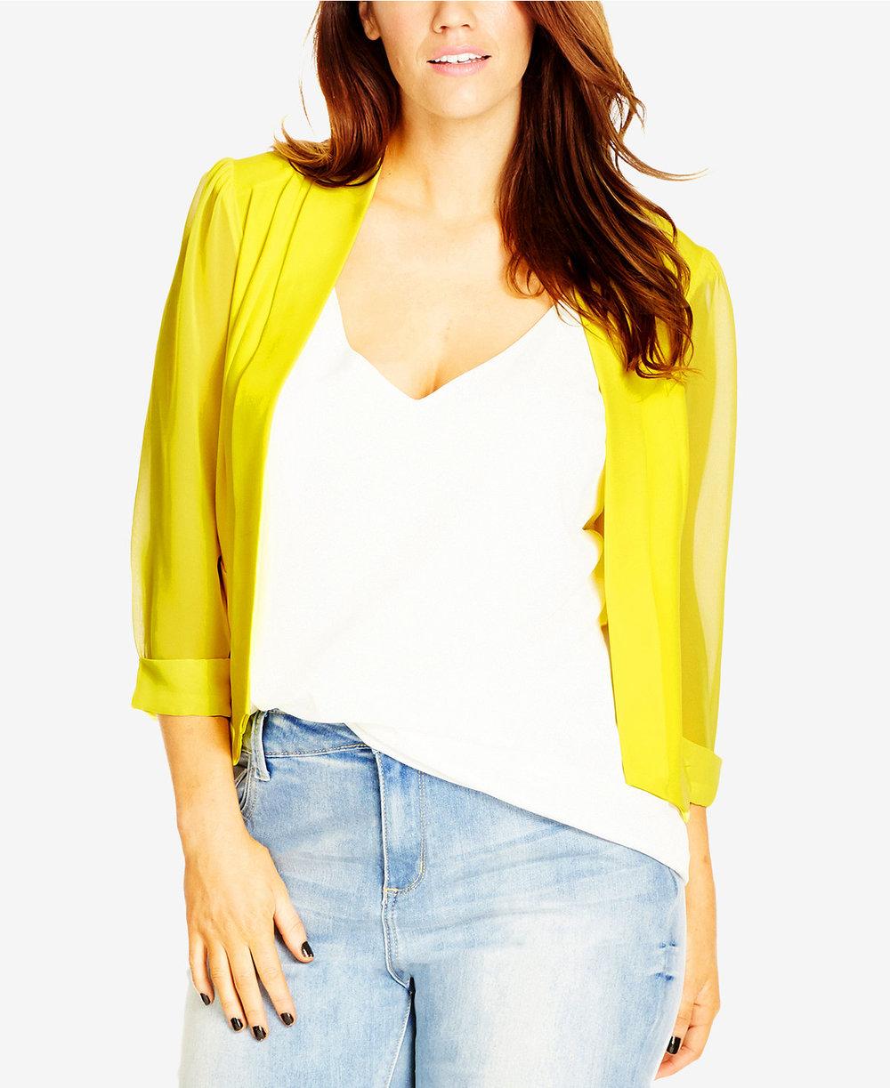 $79 Plus Size Sheer-Sleeve Cropped Blazer