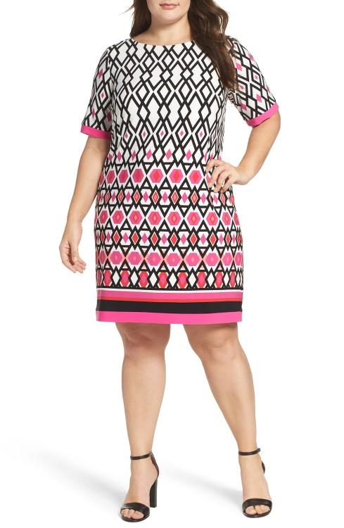 $128 Eliza J Graphic Print Shift Dress
