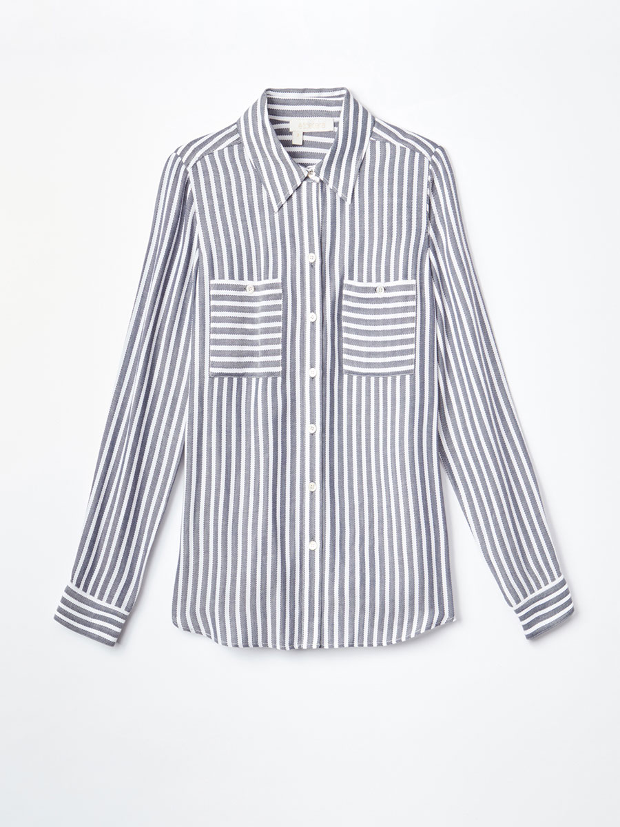 Dobby Striped Jacquard Blouse