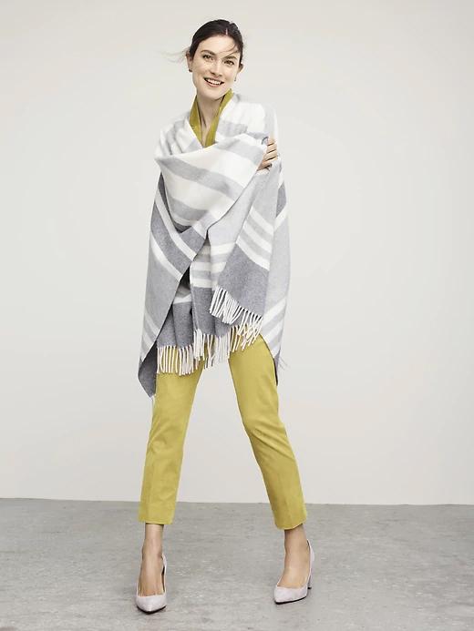 Stripe Italian Wool Blend Poncho