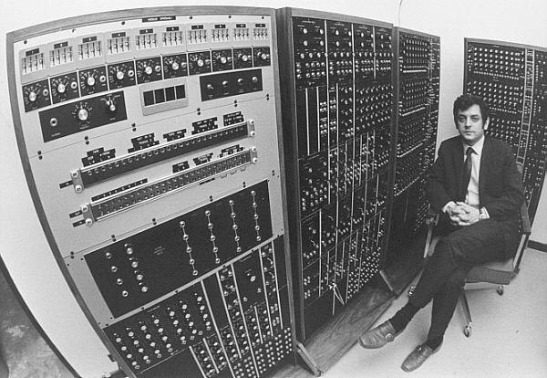 Photo of Chadabe next to CEMS Synth by Warren Bur