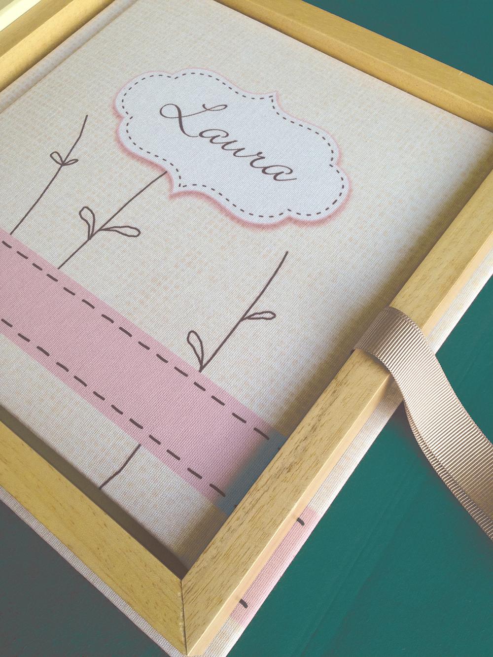Álbum lino personalizado + caja artesanal madera y lino