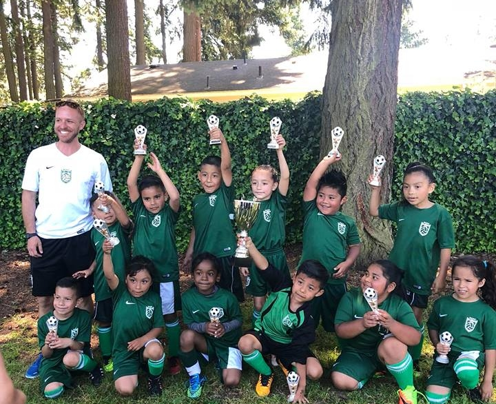 U8 Team brining home the first place victory in their 2018 Spring league!