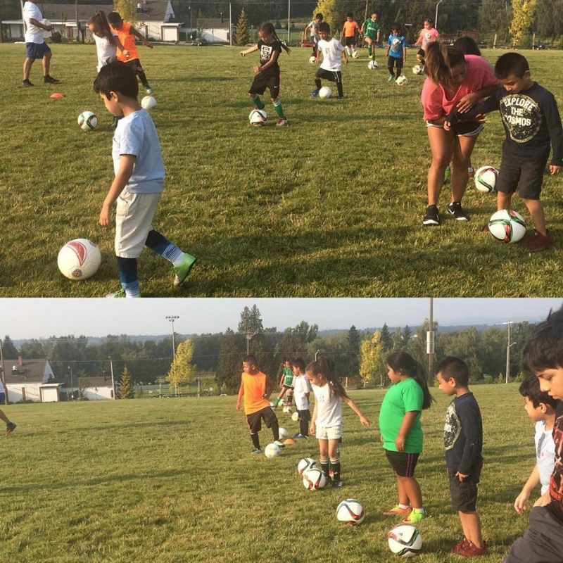 U8 players working on the basics at Cully Park, summer 2018