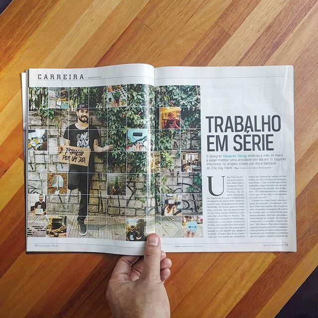 Hoje é dia de sair a primeira matéria do projeto em revista, na @vocesa ☝✊🤘 #obrigadopelodia #onedayhand
