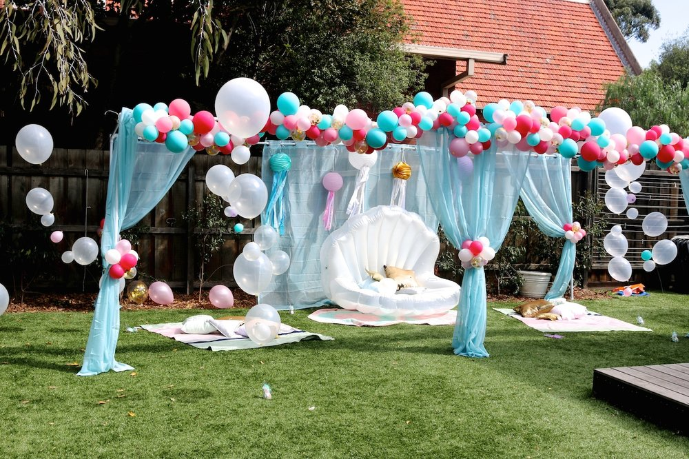Backyard Drapes, Balloon Garland Cluster, Bubble Strands, Seating Area