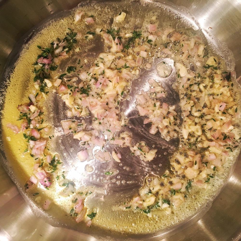 Shallots, garlic and chopped thyme