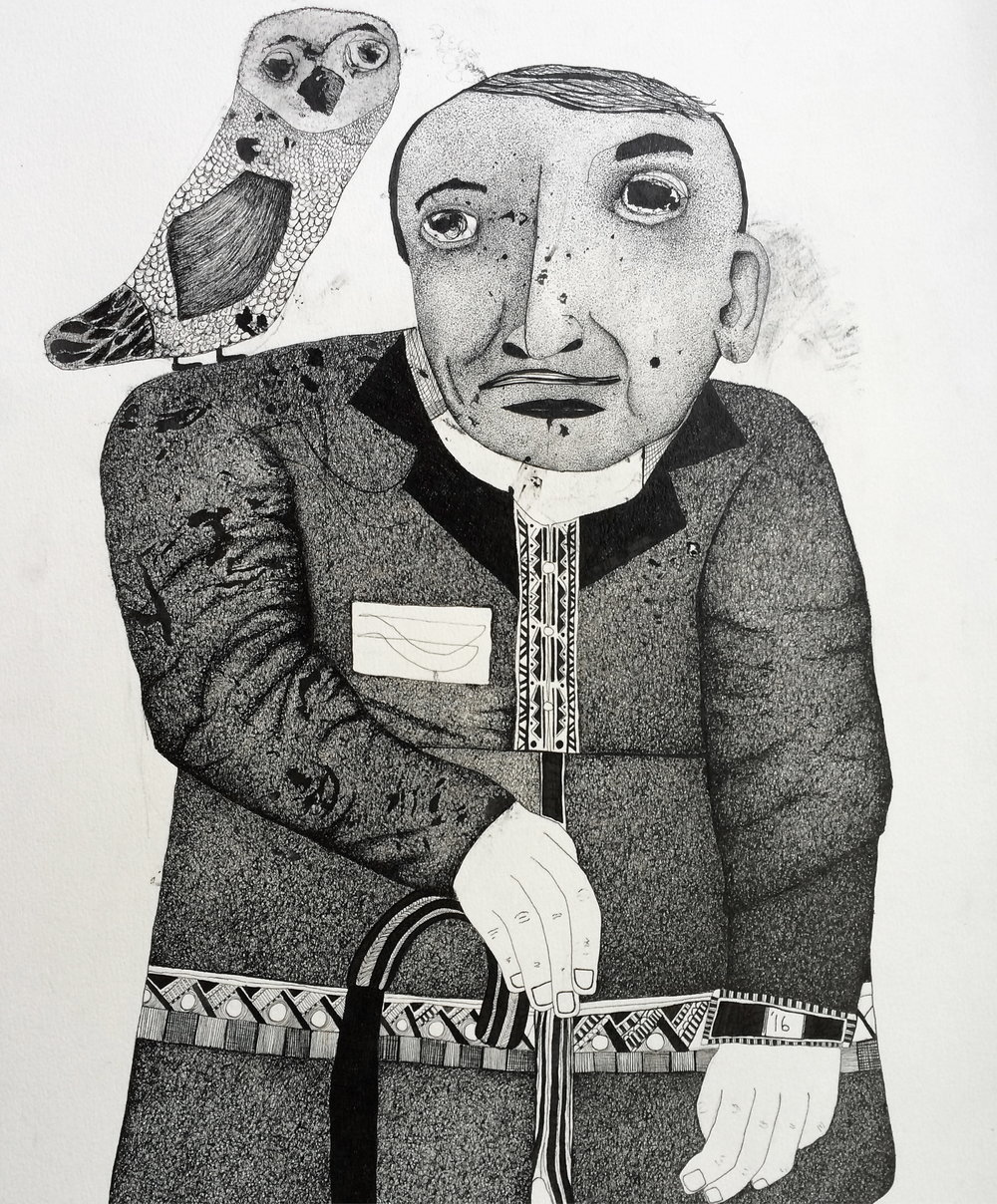 Man with Owl, 2016