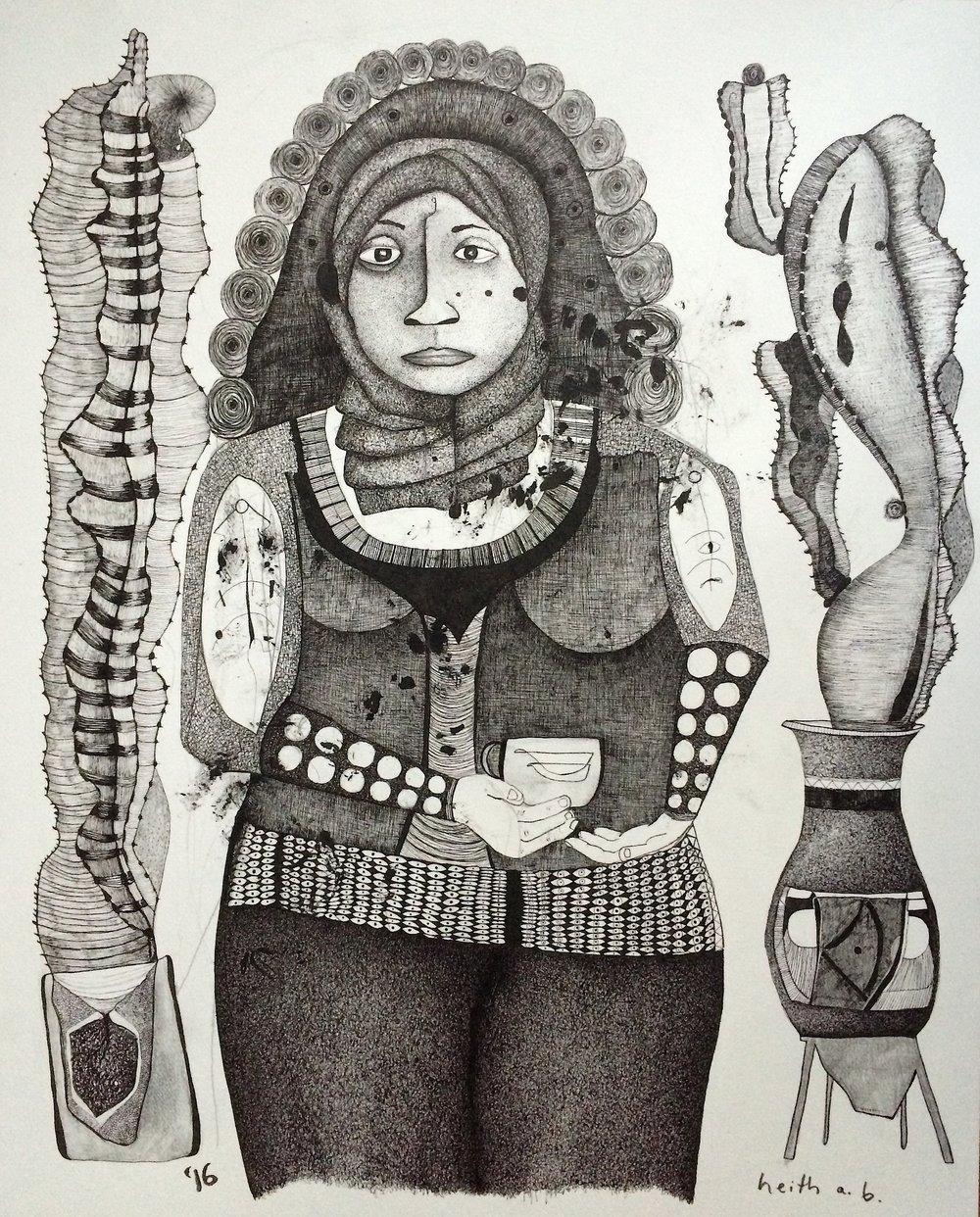 Woman Drinking Tea, 2016