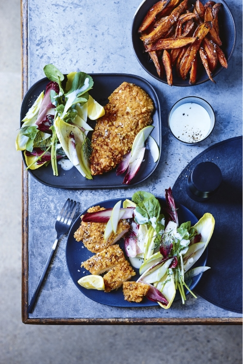 Buttermilk Schnitzel With Bitter Leaf Salad And Sweet Potato Chips Hayden Quinn