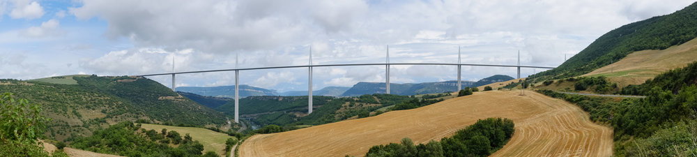Millau Viaduct, France. Panorama shot in-camera with Fujifilm X100S.