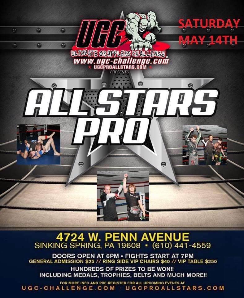 Crush Crew Jiu-jitsu will be at the UGC All Stars Pro. Representing us will be Matty Irish and Big LEESH!!