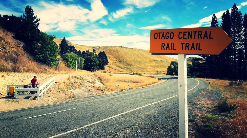 One of the few road crossings on the Otago Central Rail Trail, New Zealand.