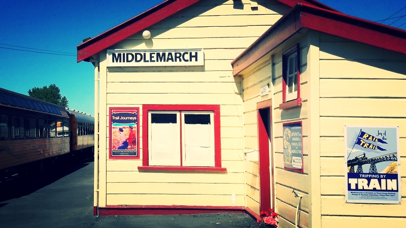 Middlemarch, New Zealand.  The start of our Central Otago Rail Trail adventure.