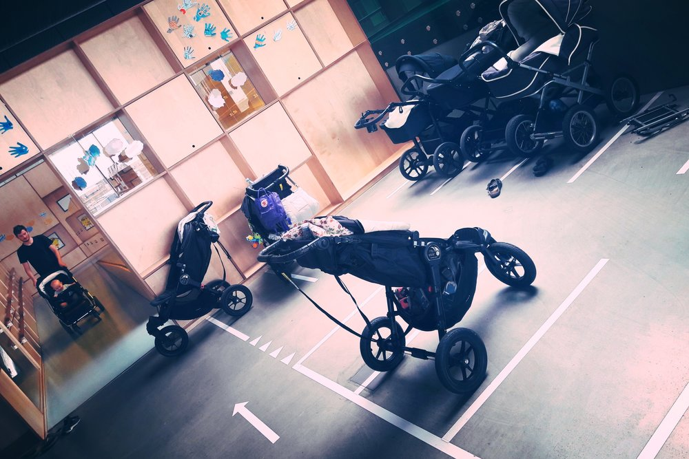 A Danish pram park - apologies for the rogue pram parking across (and not within) the lines.