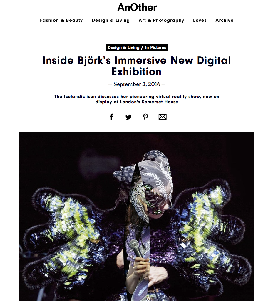 New VR experiences in the World of Art&Music – by Björk one of the leading artist concerning new technology.