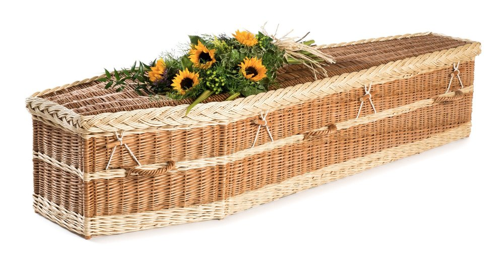 English Willow Wicker Coffin - Available from thinkwillow.com