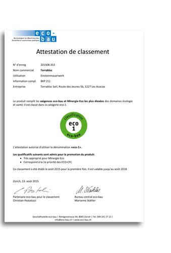 certificat eco-bau