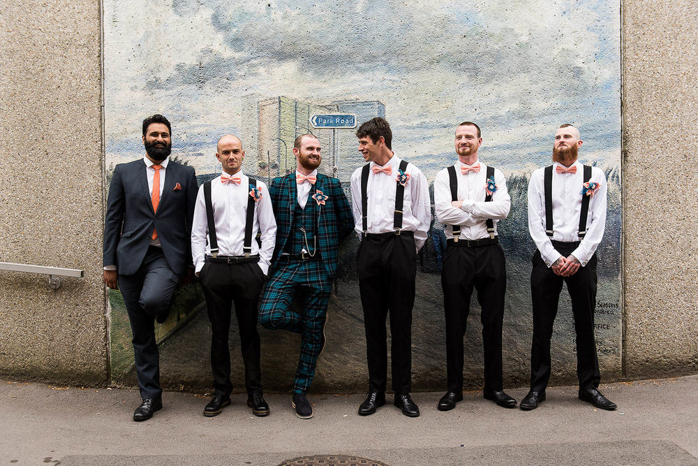 Alternative groom and groomsmen portrait