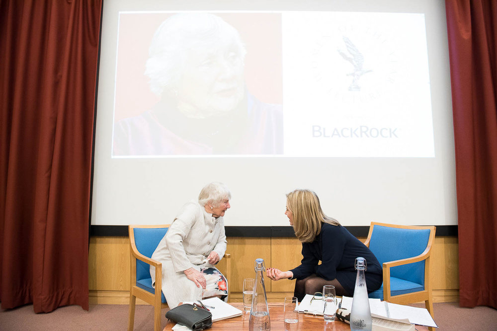 Shirley Williams chatting with Mary Nightingale at a Women of the Year Lecture.jpg