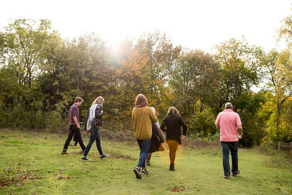 Family out for a walk in autumn, Surrey Family Photographer