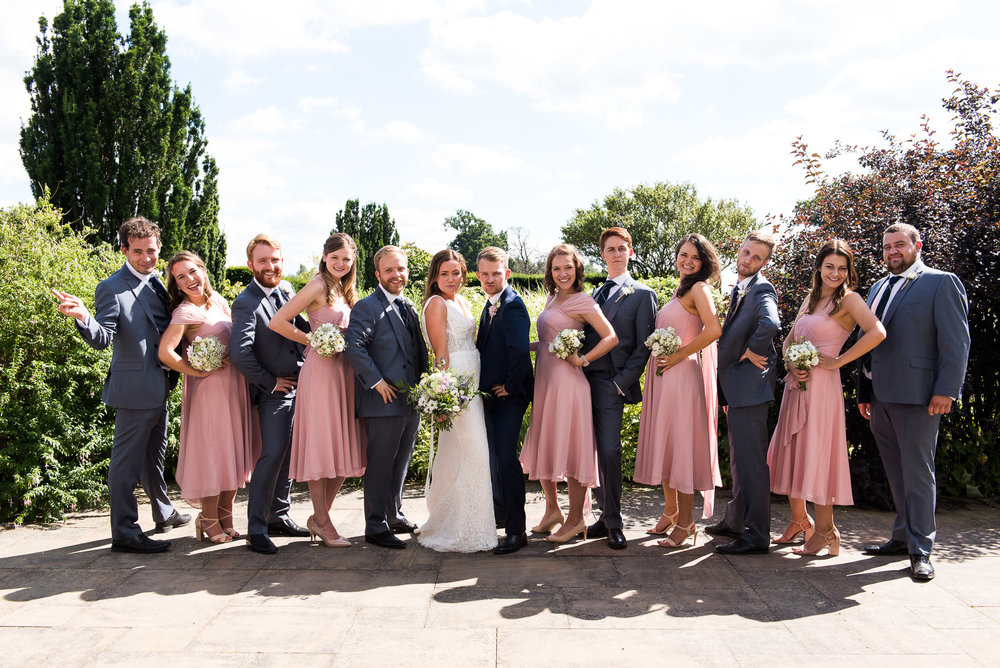 gorgeous pastel pink and grey bridal party © Jessica Grace Photography
