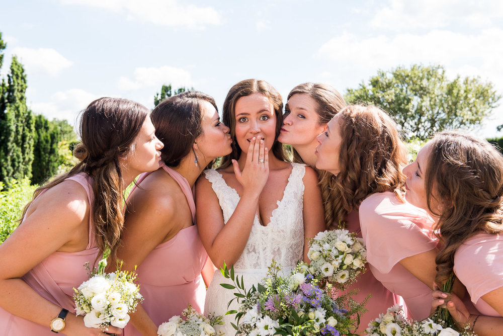 Pretty pastel pink bridesmaid dresses at Loseley Park. Surrey wedding photographer. © Jessica Grace Photography