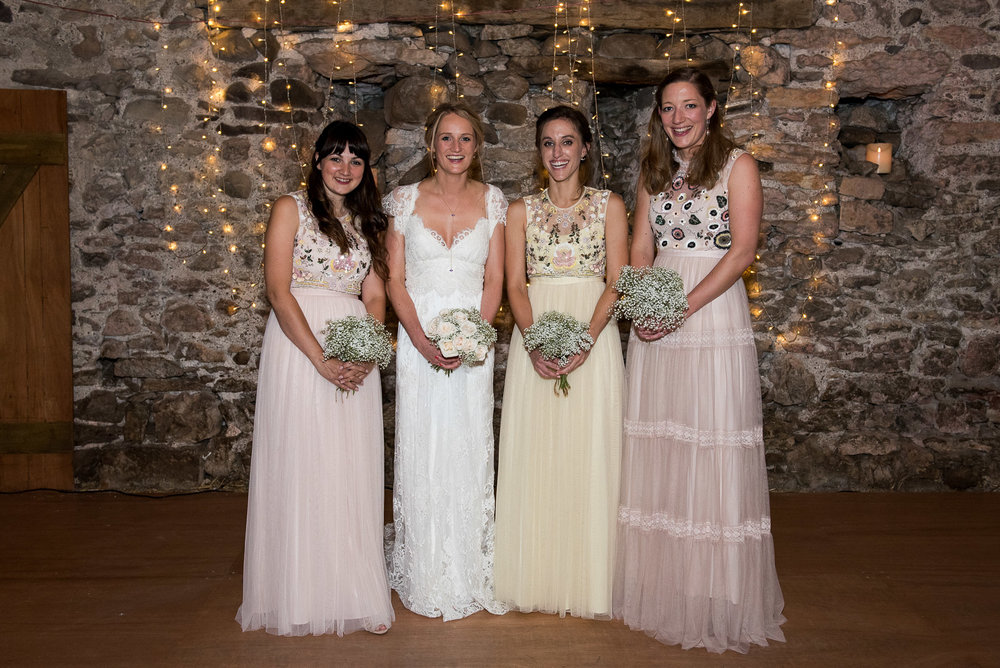 Beautiful boho bridesmaid dresses, Park House Barn, Lake District © Jessica Grace Photography