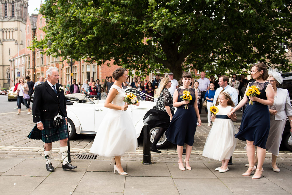 Arrival of the bridal party at the York Minster. © Jessica Grace Photography