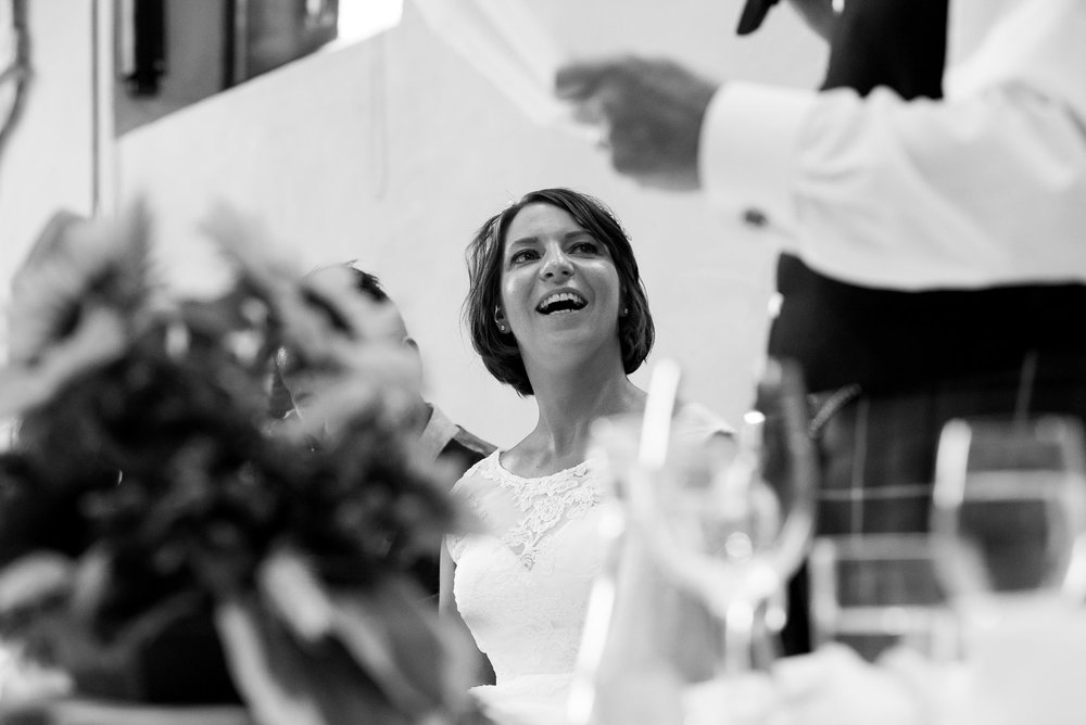 Gorgeous happy bride reaction during speeches. York wedding. © Jessica Grace Photography