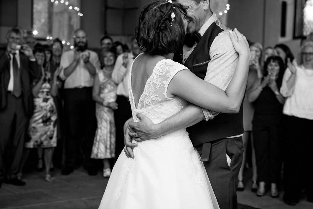 Captured moment of bride and groom during their dance.