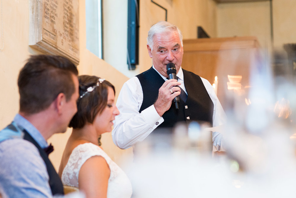 Natural wedding photography, emotional father of the bride speech. © Jessica Grace Photography