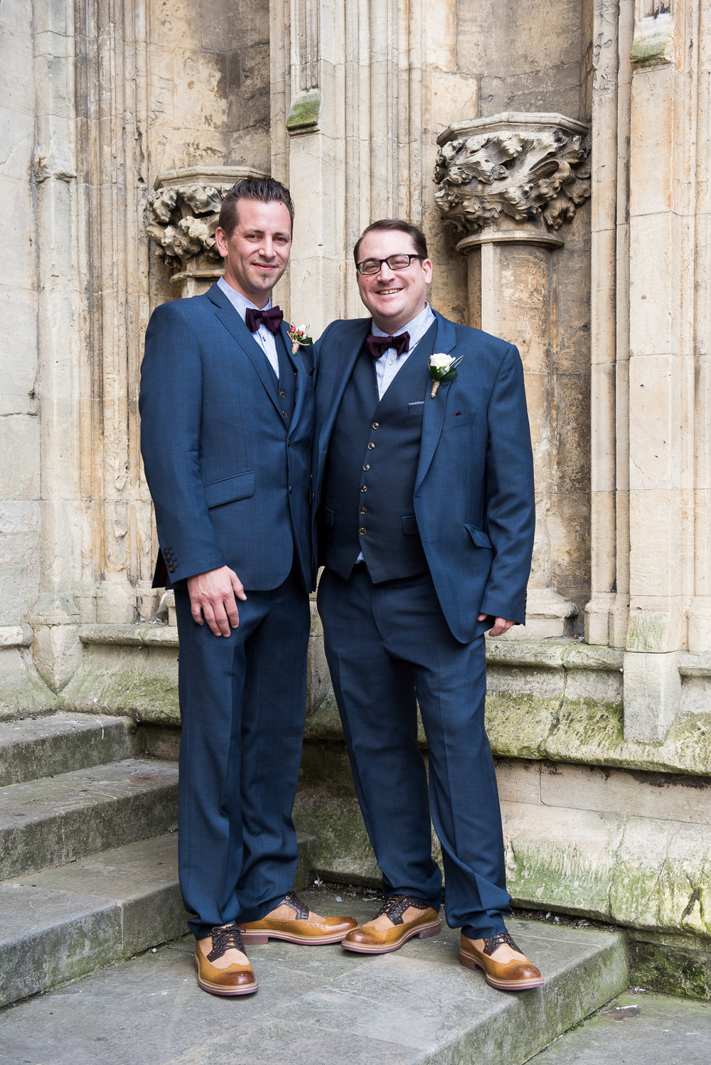 Groom and his best man on the steps of the Minster.jpg