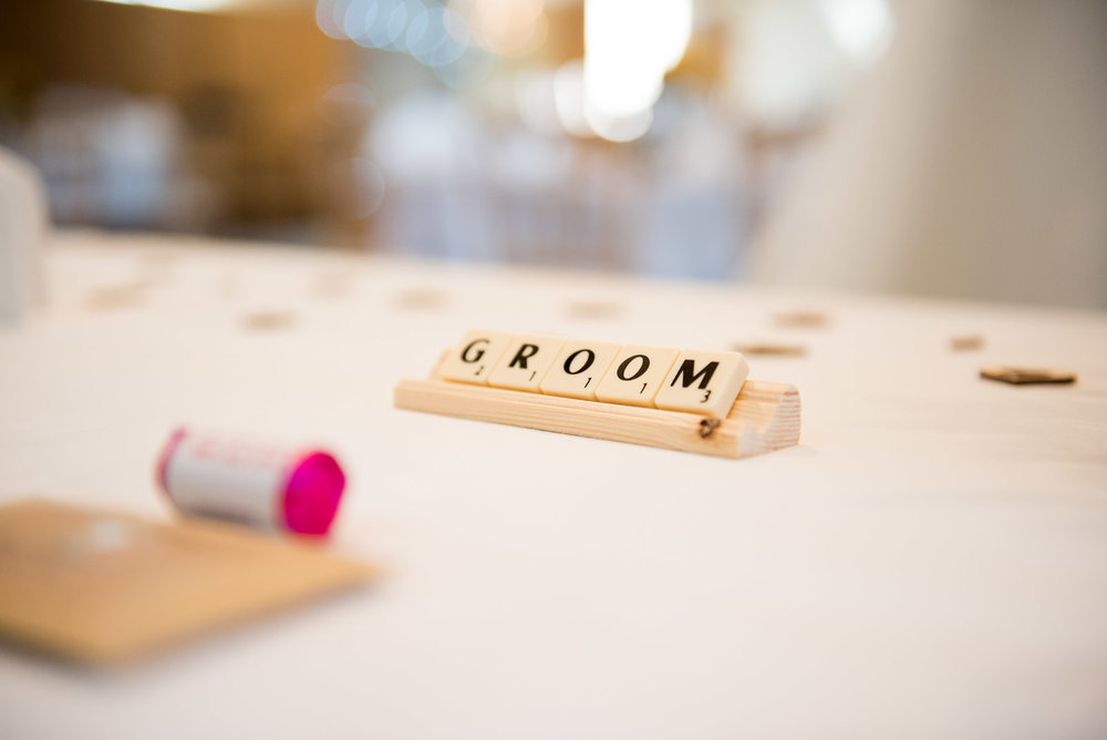 DIY bride scrabble tile place setting, with rustic wooden heart details.