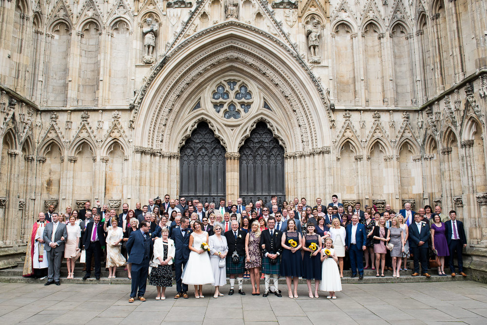 Magnificent setting for group photographs at the steps of the York Minster. © Jessica Grace Photography
