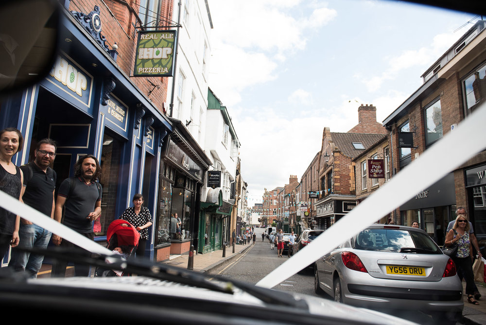Wedding transport through the streets of York. © Jessica Grace Photography