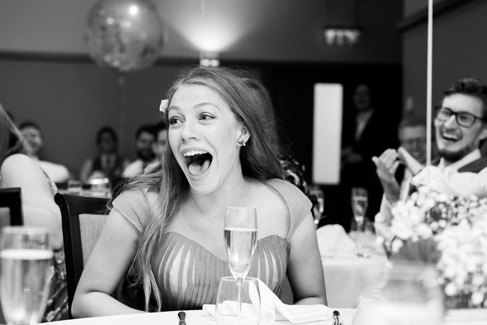 Captured moment - outrageous speeches leaving this bridesmaid in shock © Jessica Grace Photography