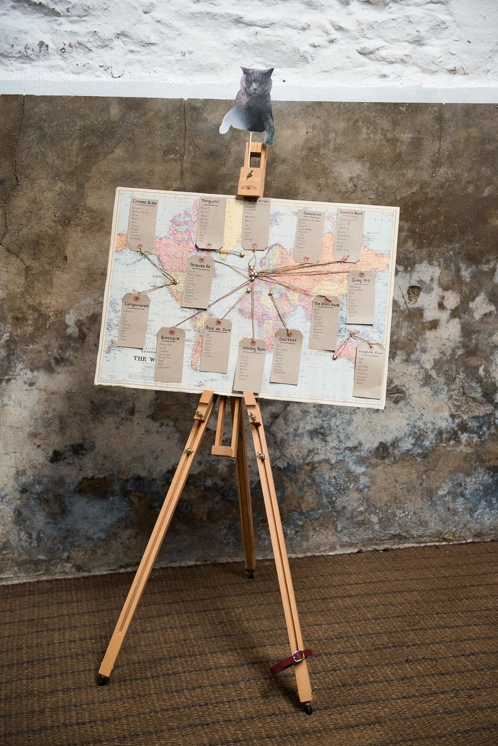 DIY wedding idea, a map of the world as a table plan © Jessica Grace Photography