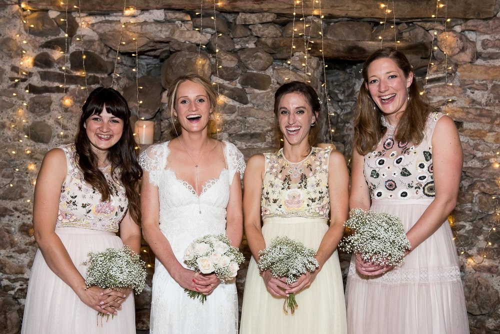 Gorgeous equinned bridesmaids dresses and a wonderful rustic setting © Jessica Grace Photography