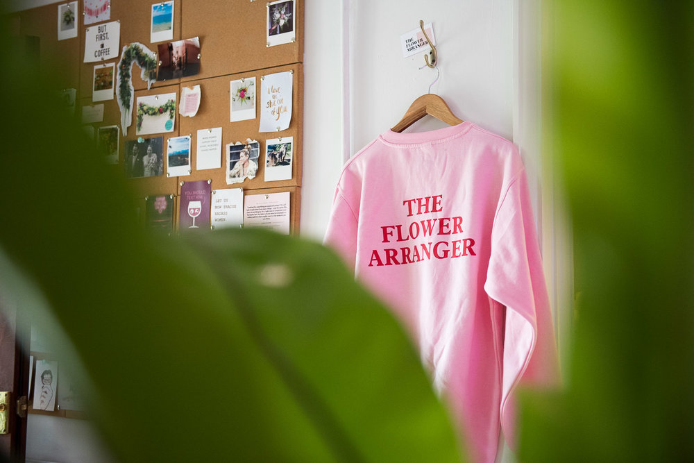 The Flower Arranger jumper with logo © Jessica Grace Photography