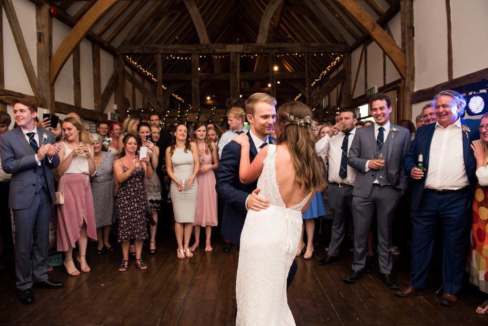 Fun first dance for bride and groom, Surrey Wedding Photographer  © Jessica Grace Photography