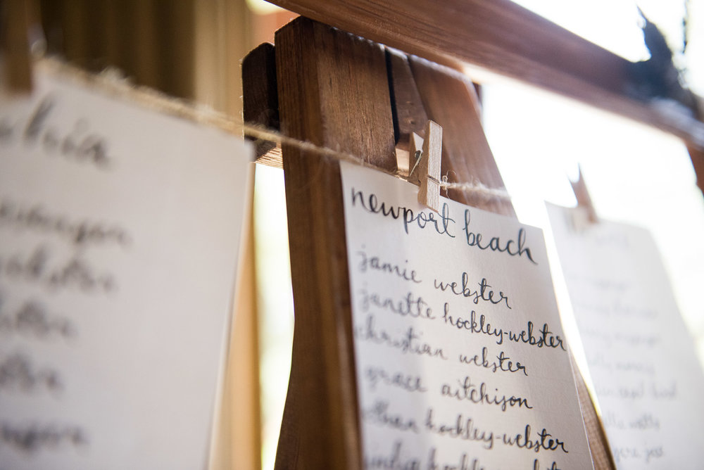 Rustic seating chart design © Jessica Grace Photography