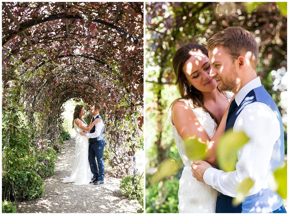 Beautiful couple portraits in the dappled sunlight at Loseley Park