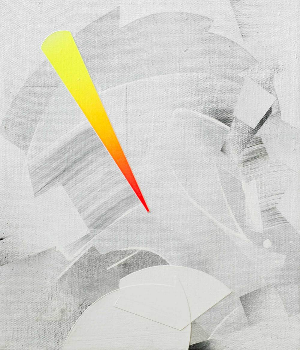 "Zeta Phoenicis, acrylic / airbrush / gesso on linen, 14"" x 12"""