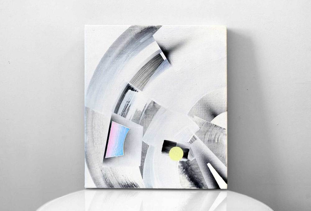 "Zuben Elakrab, acrylic / airbrush / gesso on linen, 16"" x 14"""