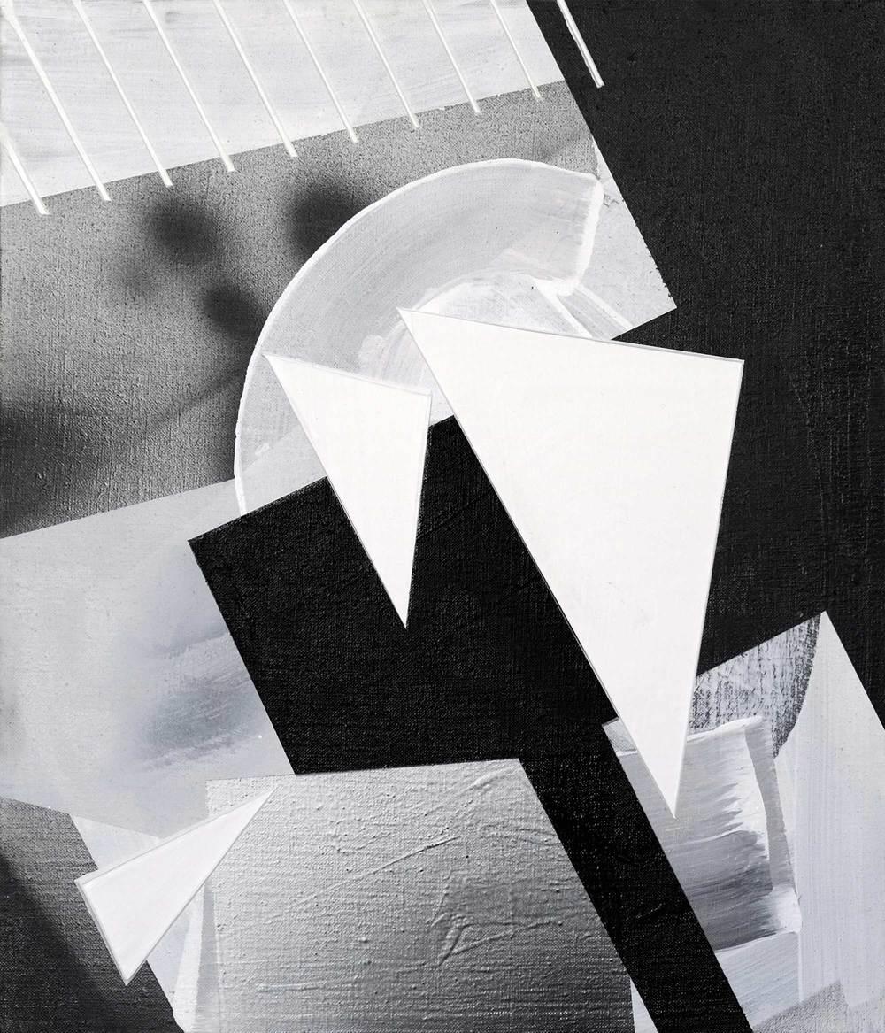 "Rukbat, acrylic / airbrush /gesso on linen, 14"" x 12"""
