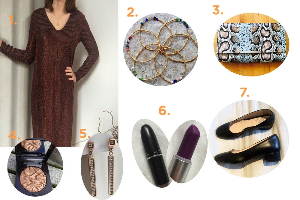 1. Rød kjole// 2. Guld armbånd// 3. Clutch// 4. Laura Mercier bronzer// 5. Dyrberg/Kern// 6. MAC Heroine Læbestift// 7. Ballerinaer med hæl