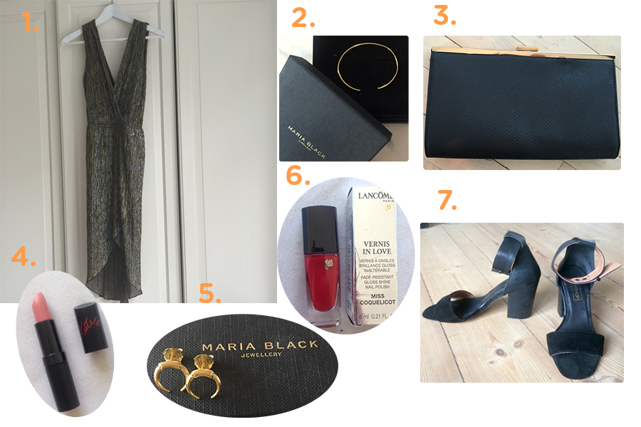 1. Kjole// 2. Maria Black armbånd// 3. Clutch// 4. Rimmel læbestift// 5. Maria Black Øreringe// 6. Lancome Neglelak7. TopShop hæle