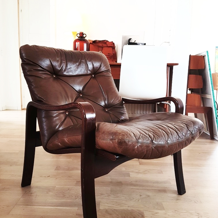 Brun læderstol
